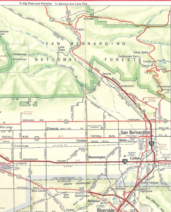 Route 66 Jointly Us 395 Us 66 Co Signed South Of Victorville 1954 1967 Two Favorite U S 395 Road