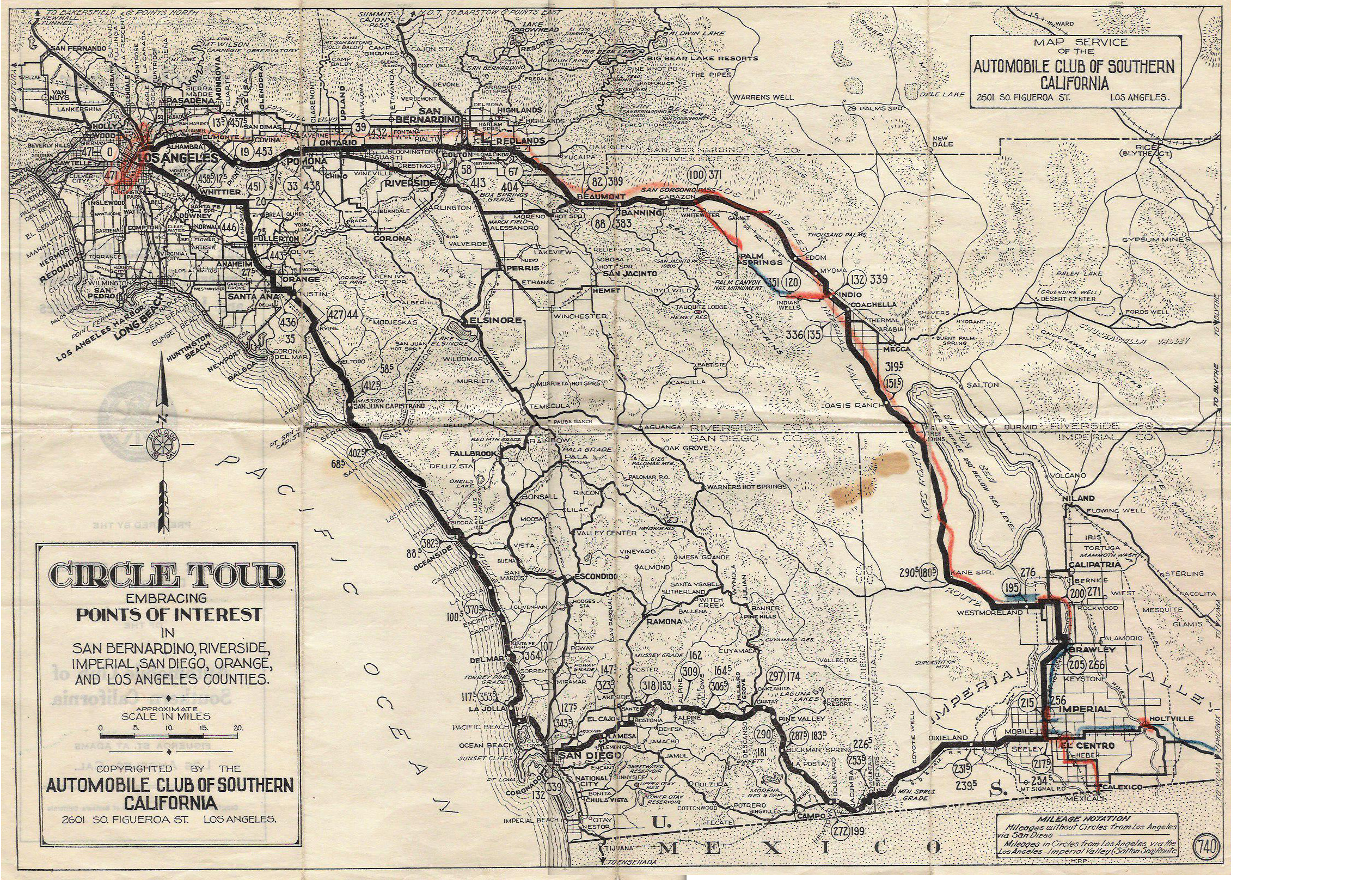 US San Diego Original Final Routes - Us highway map 1960