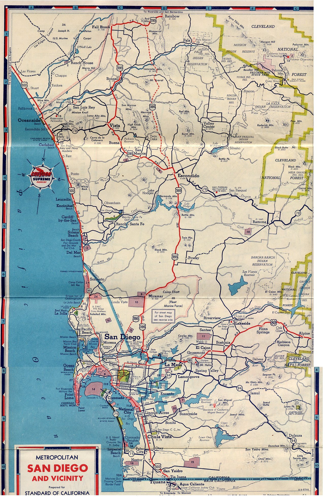 US San Diego Original Final Routes - Us 395 map